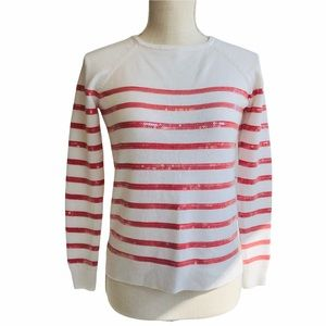 Ann Taylor Pink & White Stripped Sweater